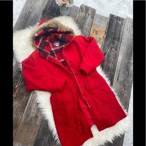 Vintage Woolrich Red Wool Fur Trim Hood Long Coat